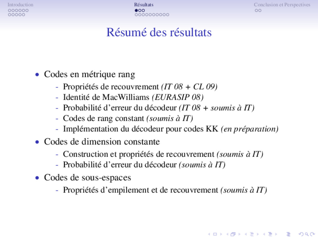 Introduction Résultats Conclusion et Perspectiv...