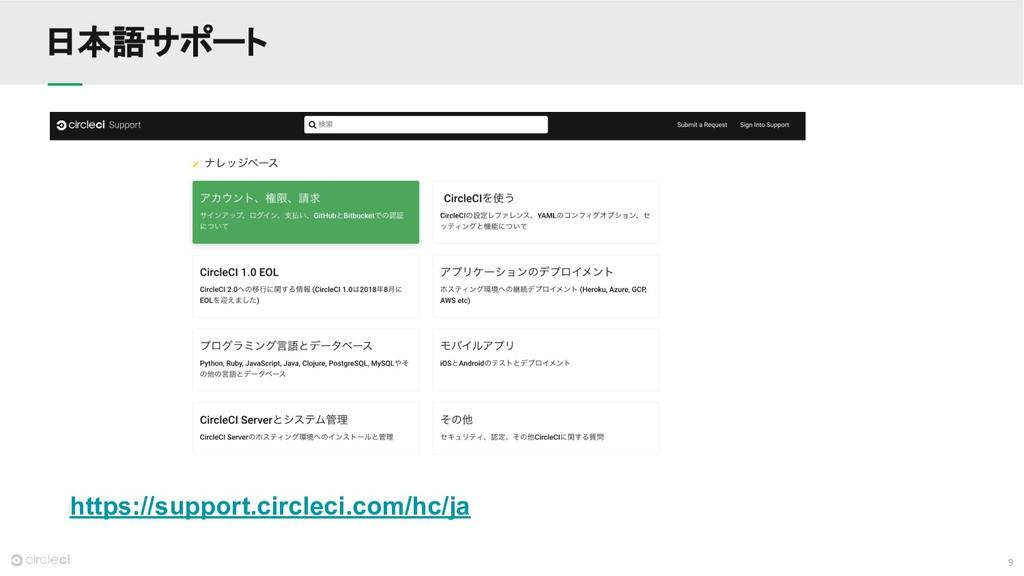 9 日本語サポート https://support.circleci.com/hc/ja