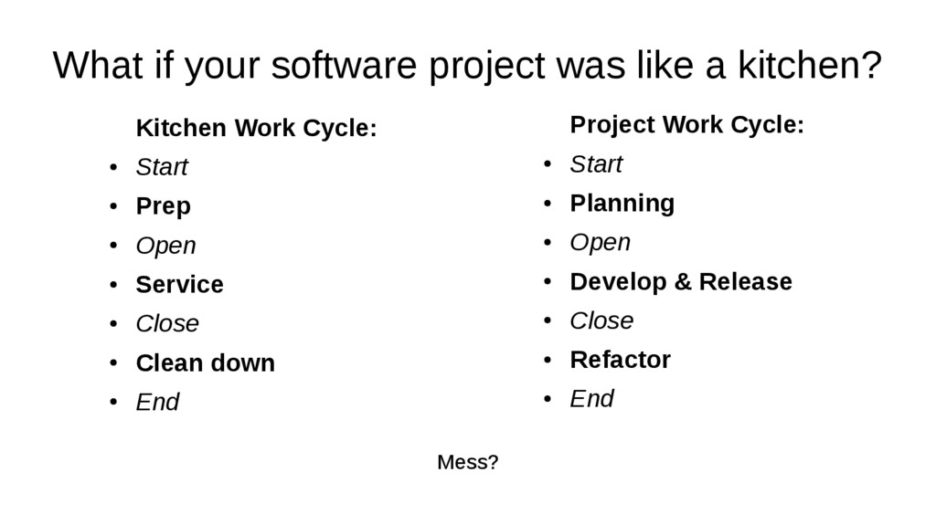 What if your software project was like a kitche...