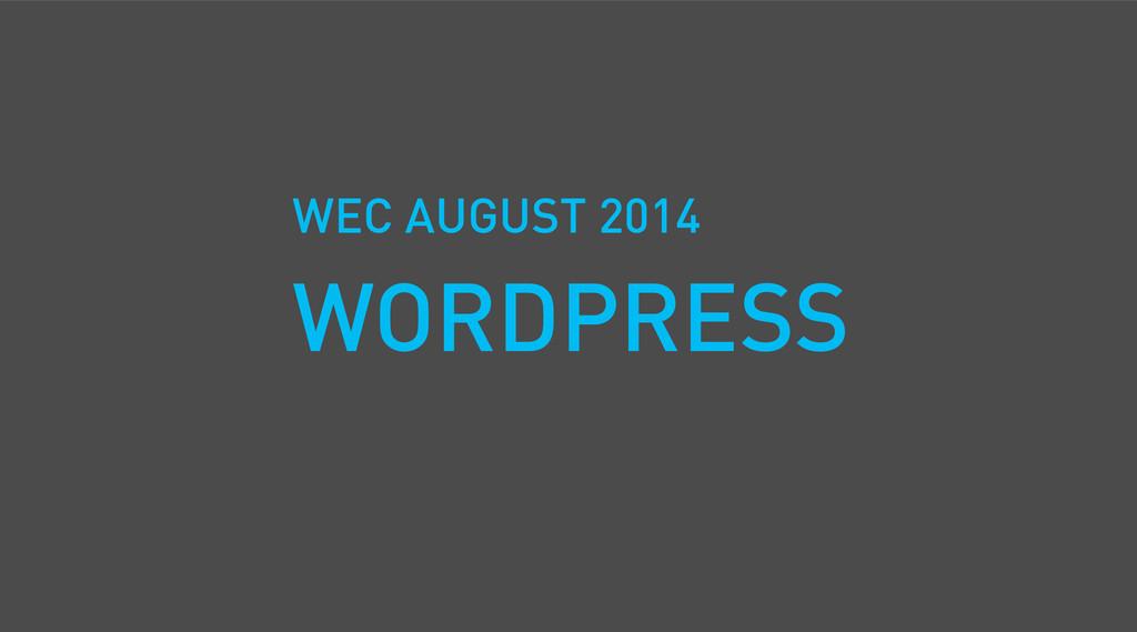 WEC AUGUST 2014 WORDPRESS