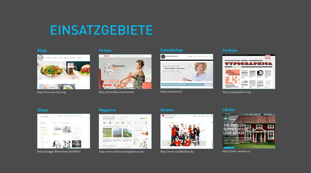 EINSATZGEBIETE Shops Firmen Portfolio Blogs Mag...