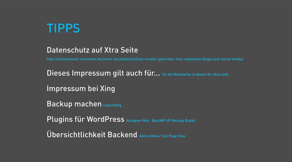 TIPPS Datenschutz auf Xtra Seite http://rechtsa...
