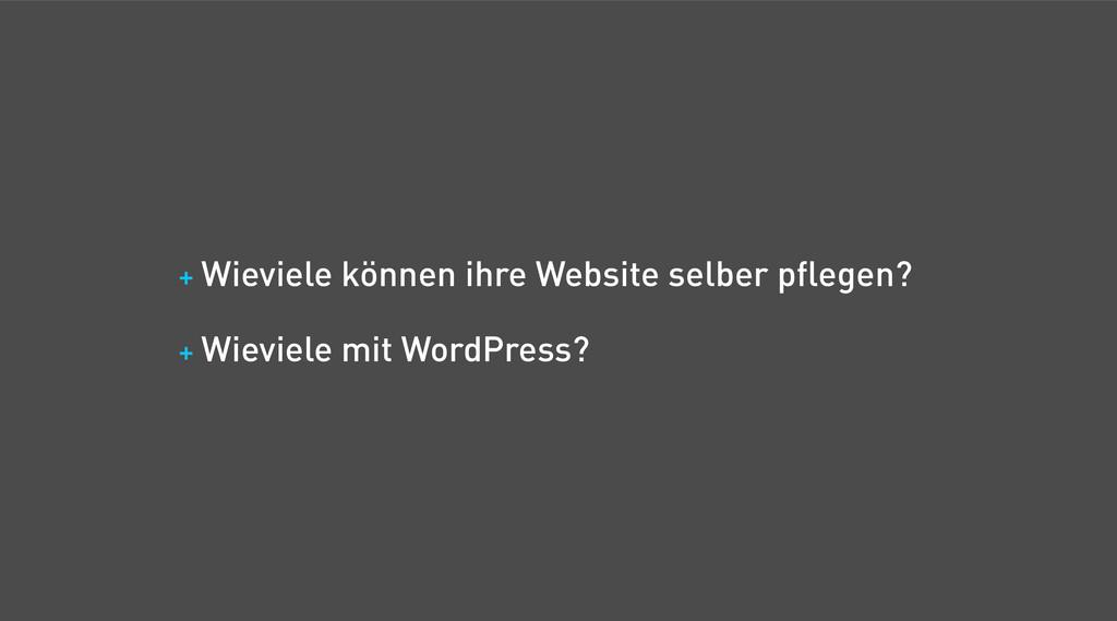 + Wieviele können ihre Website selber pflegen? ...