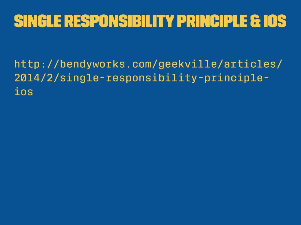 Single Responsibility Principle & iOS http://be...