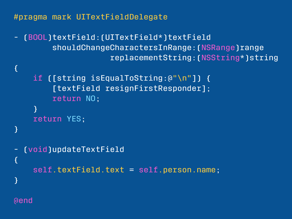 #pragma mark UITextFieldDelegate - (BOOL)textFi...