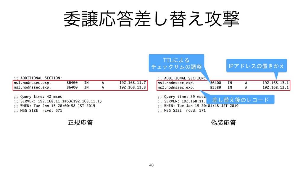 ҕৡԠࠩ͠ସ͑߈ܸ 48 正規応答 偽装応答 TTLによる チェックサムの調整 IPアドレス...