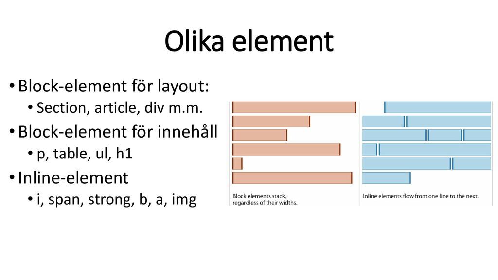 Olika element • Block-element för layout: • Sec...