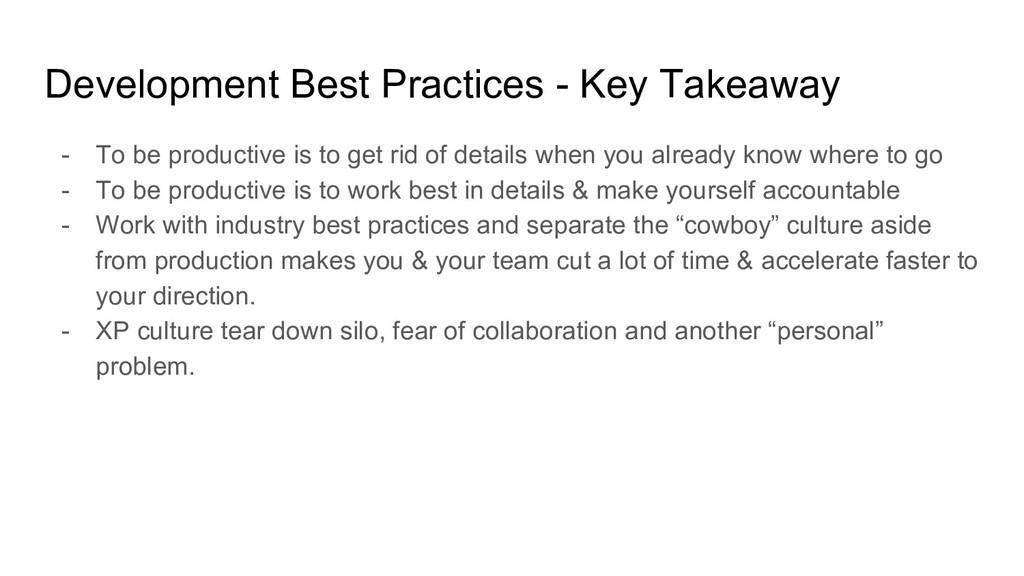 Development Best Practices - Key Takeaway - To ...