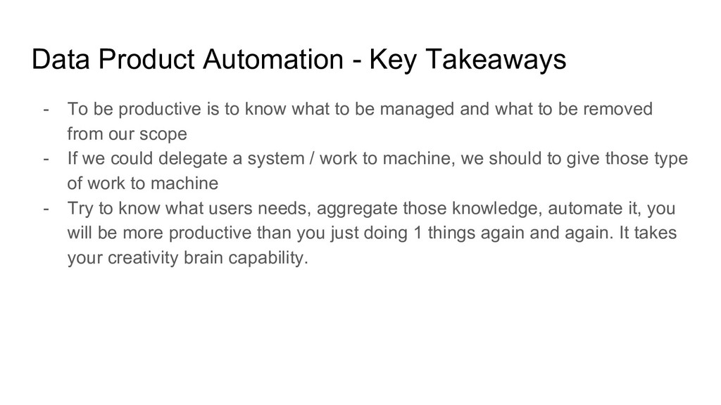Data Product Automation - Key Takeaways - To be...