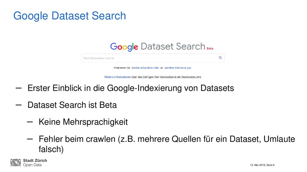 13. Mai 2019, Seite 6 Google Dataset Search – E...