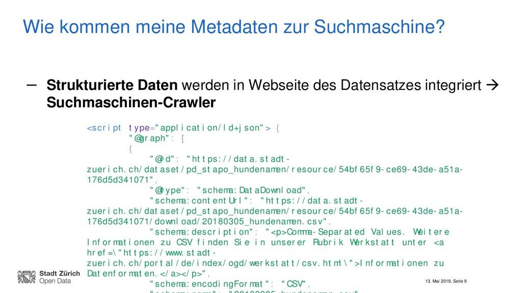 13. Mai 2019, Seite 9 Wie kommen meine Metadate...