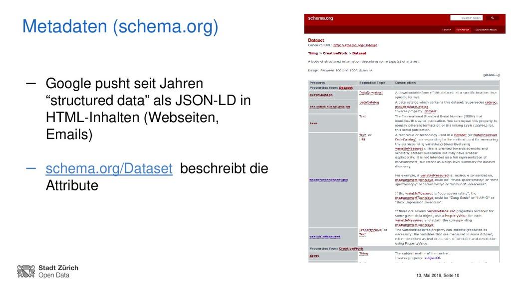 13. Mai 2019, Seite 10 Metadaten (schema.org) –...