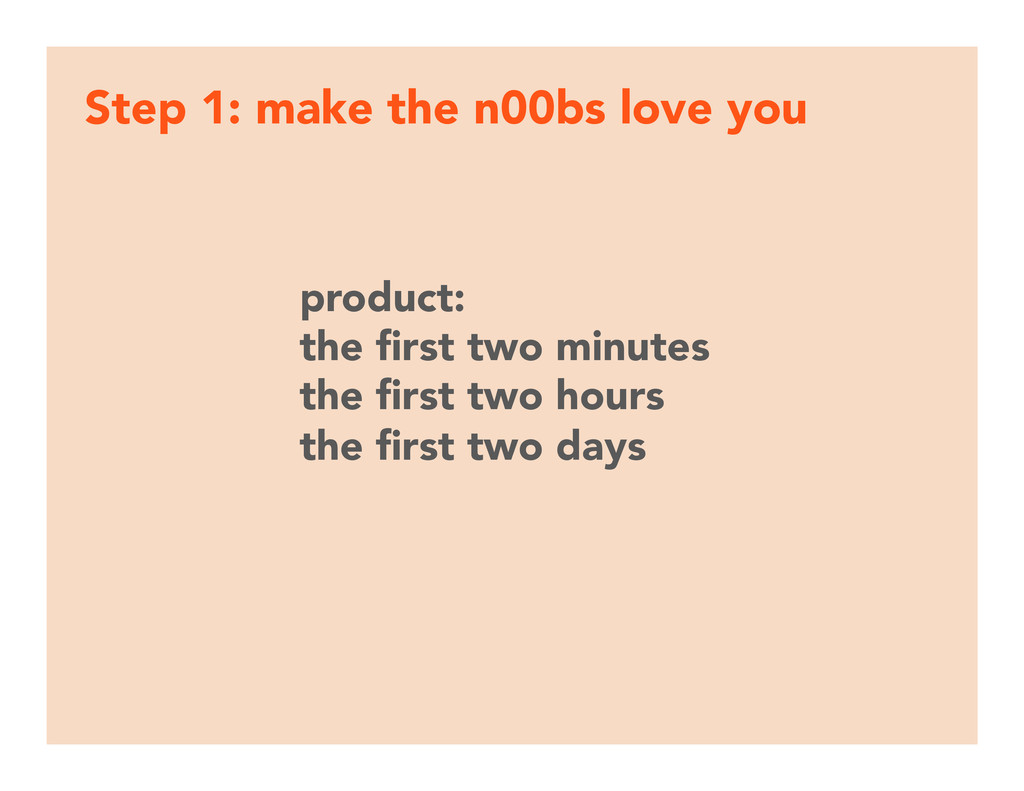 Step 1: make the n00bs love you product: the fi...