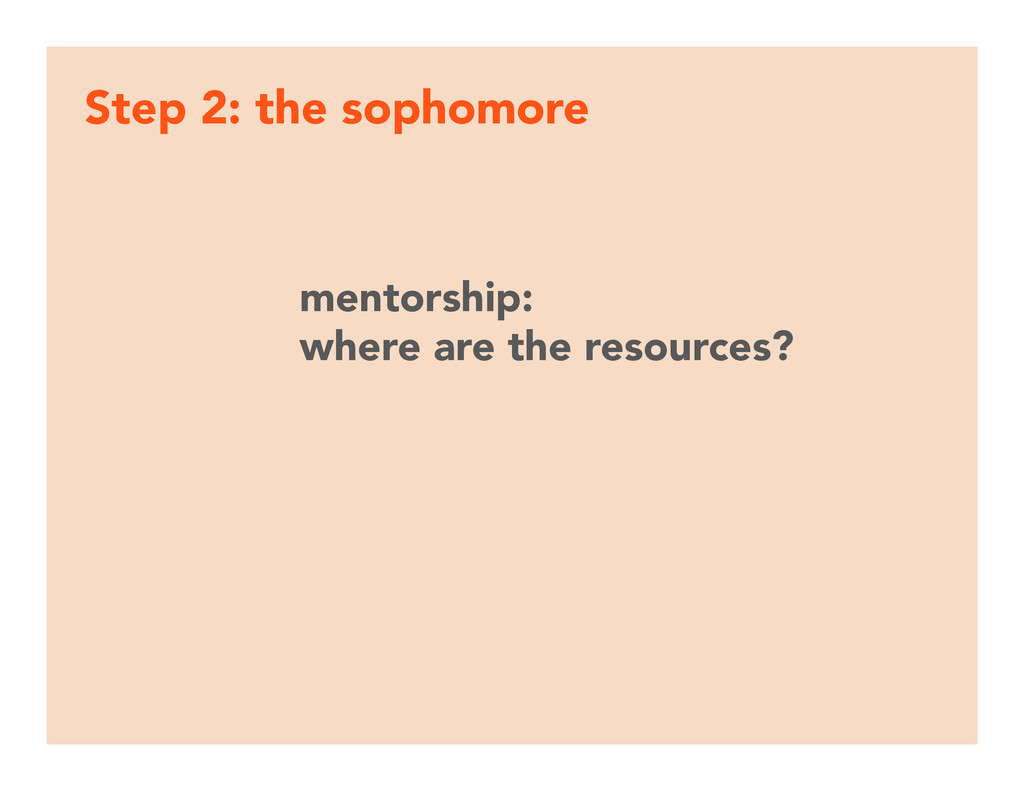 Step 2: the sophomore mentorship:  where are ...