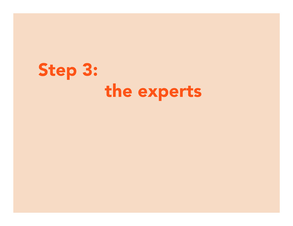 Step 3:  the experts