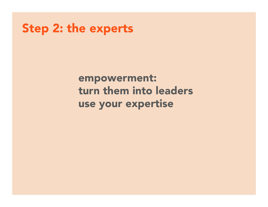 Step 2: the experts empowerment: turn them int...