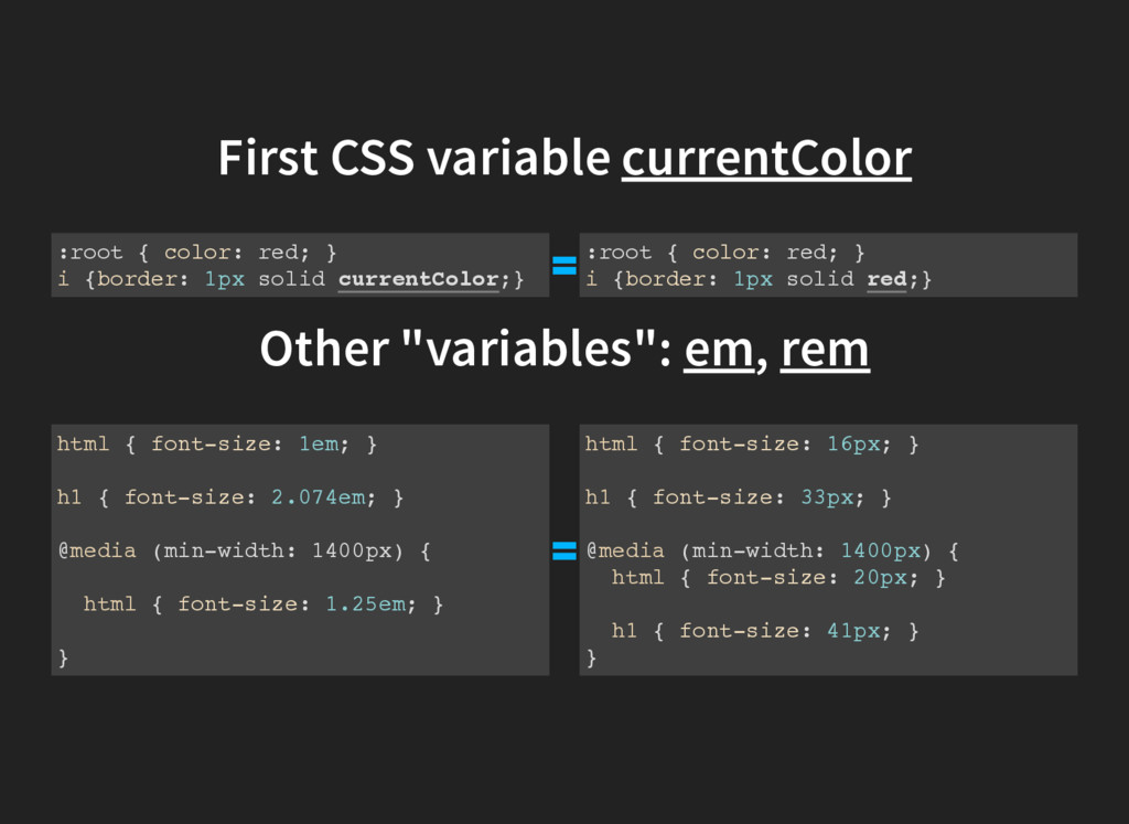 First CSS variable currentColor :root { color: ...