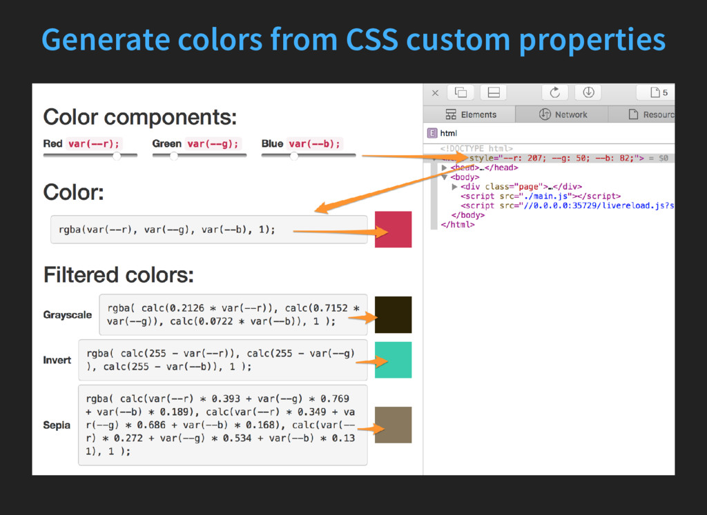 Generate colors from CSS custom properties