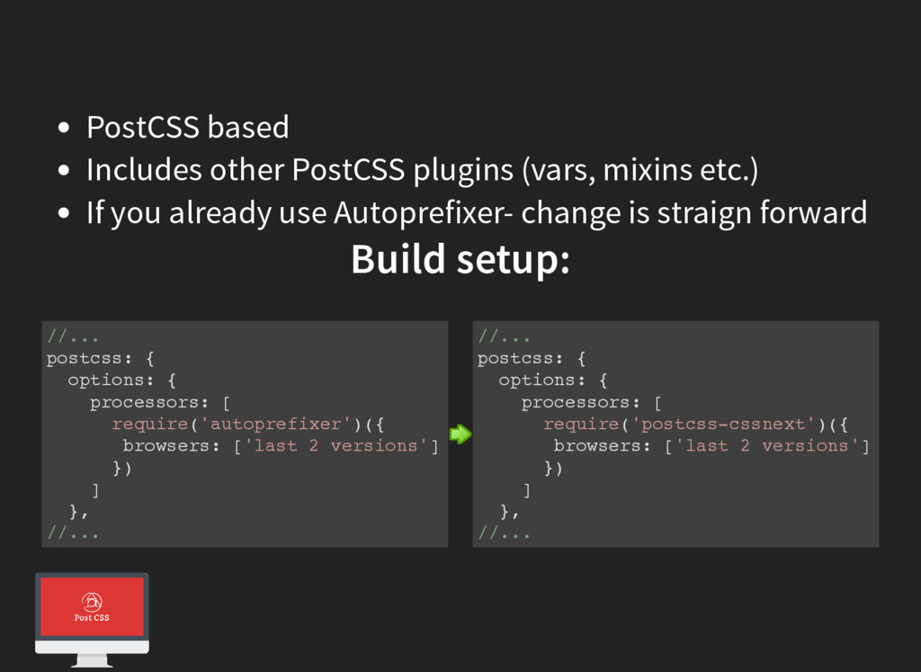 PostCSS based Includes other PostCSS plugins (v...