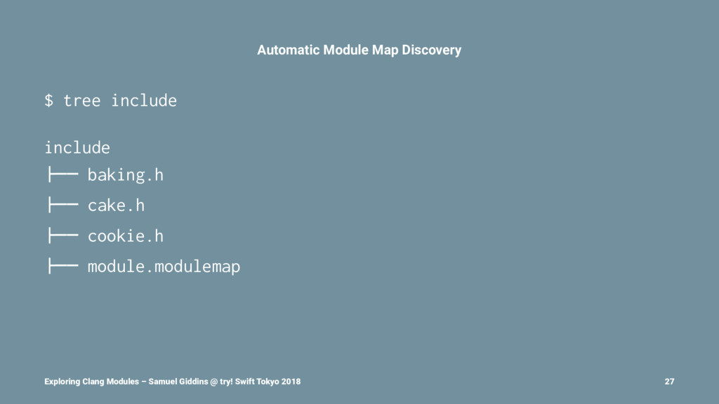 Automatic Module Map Discovery $ tree include i...
