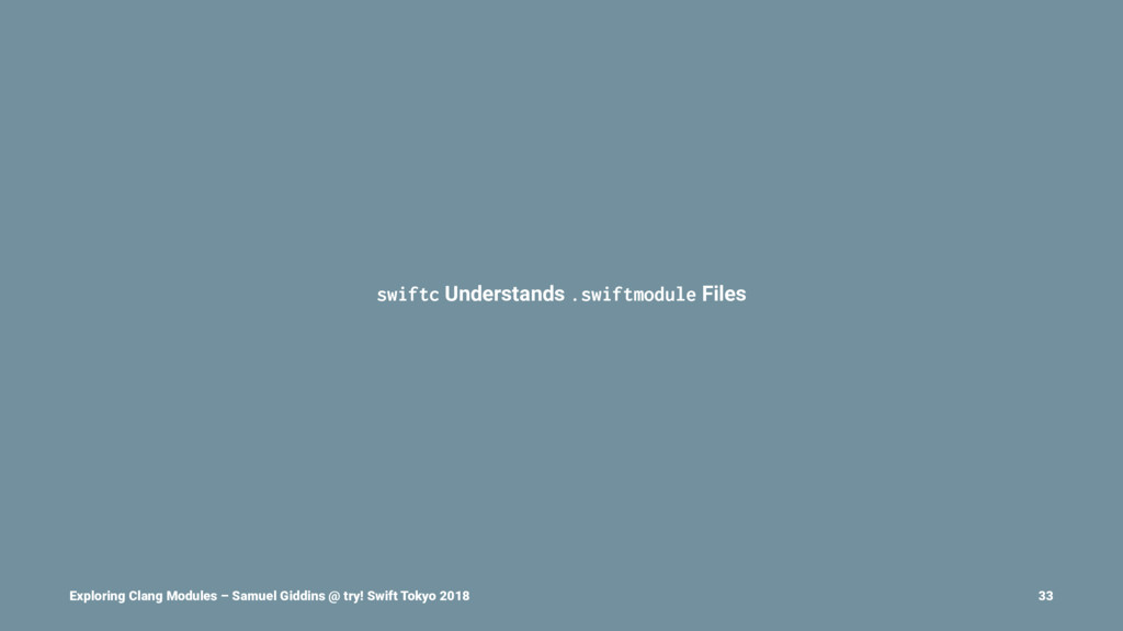 swiftc Understands .swiftmodule Files Exploring...
