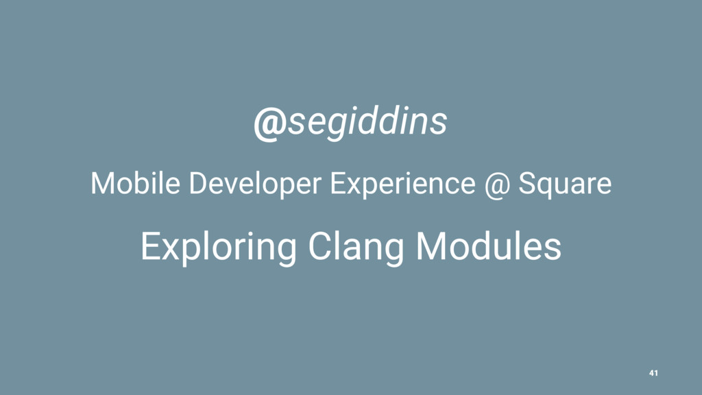 @segiddins Mobile Developer Experience @ Square...