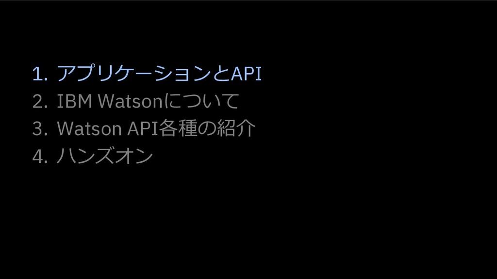 1. アプリケーションとAPI 2. IBM Watsonについて 3. Watson API...