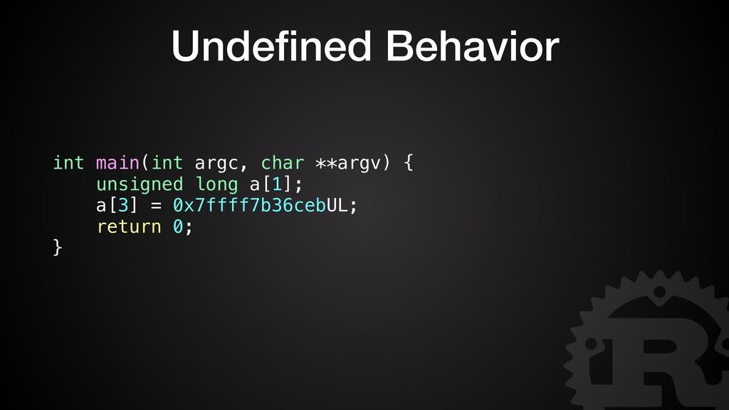 Undefined Behavior int main(int argc, char **arg...