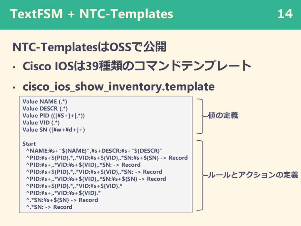 TextFSM + NTC-Templates NTC-TemplatesはOSSで公開 • ...