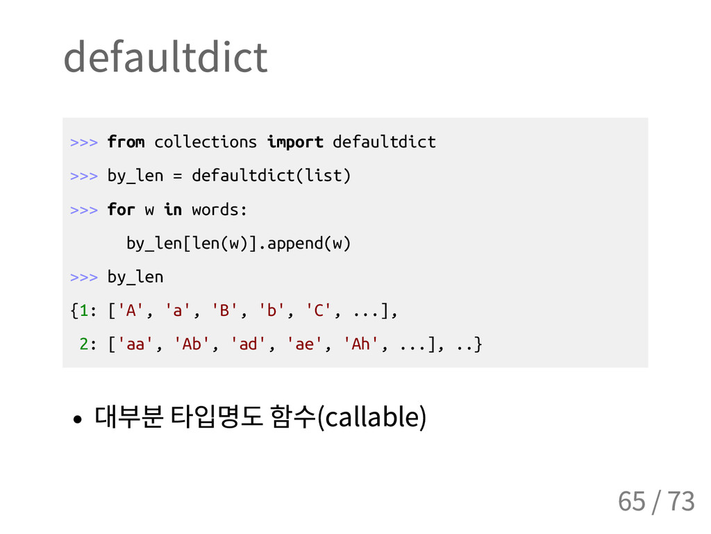 defaultdict > > > f r o m c o l l e c t i o n s...