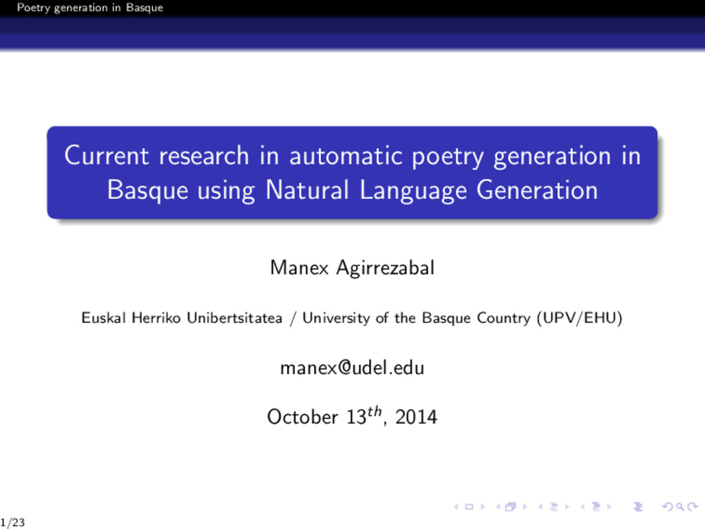 Poetry generation in Basque Current research in...