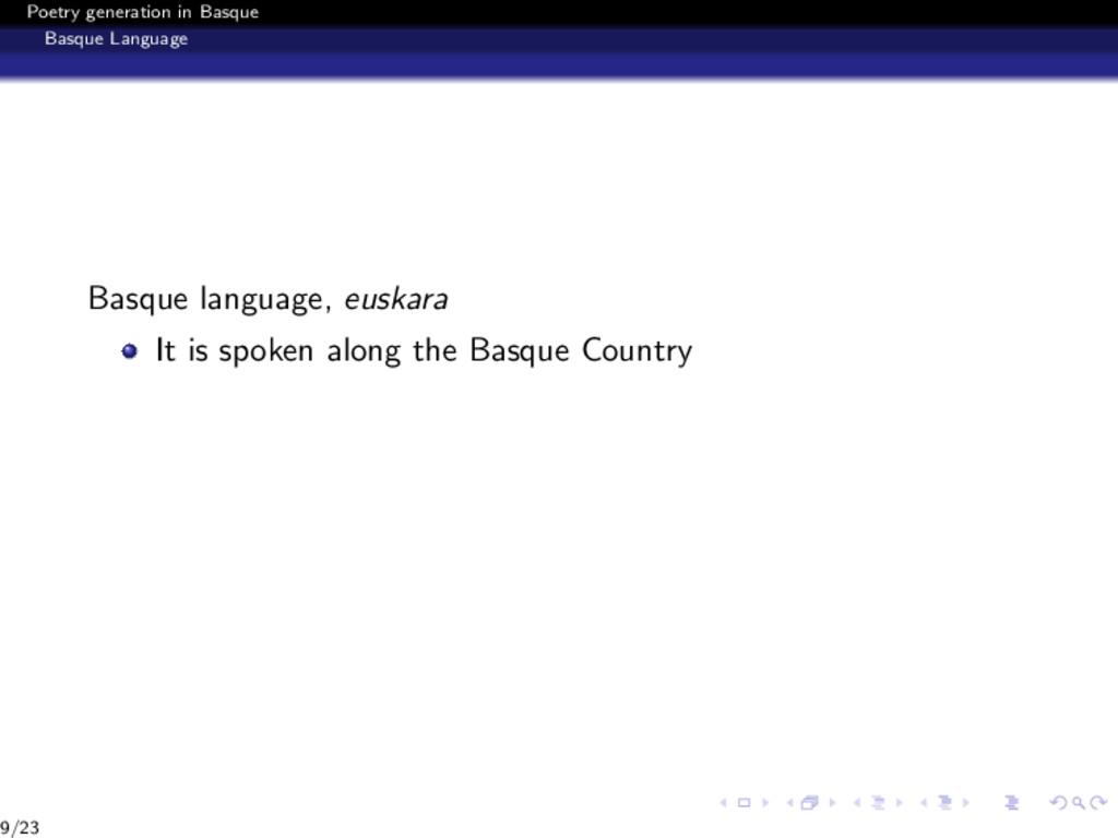 Poetry generation in Basque Basque Language Bas...