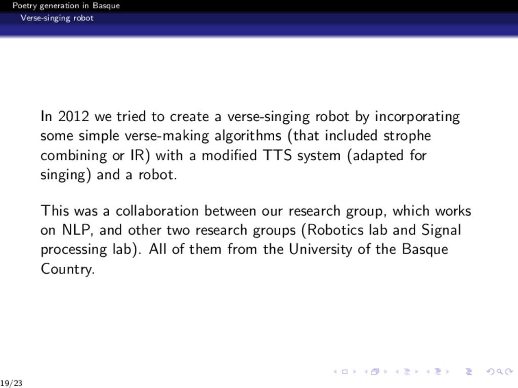 Poetry generation in Basque Verse-singing robot...