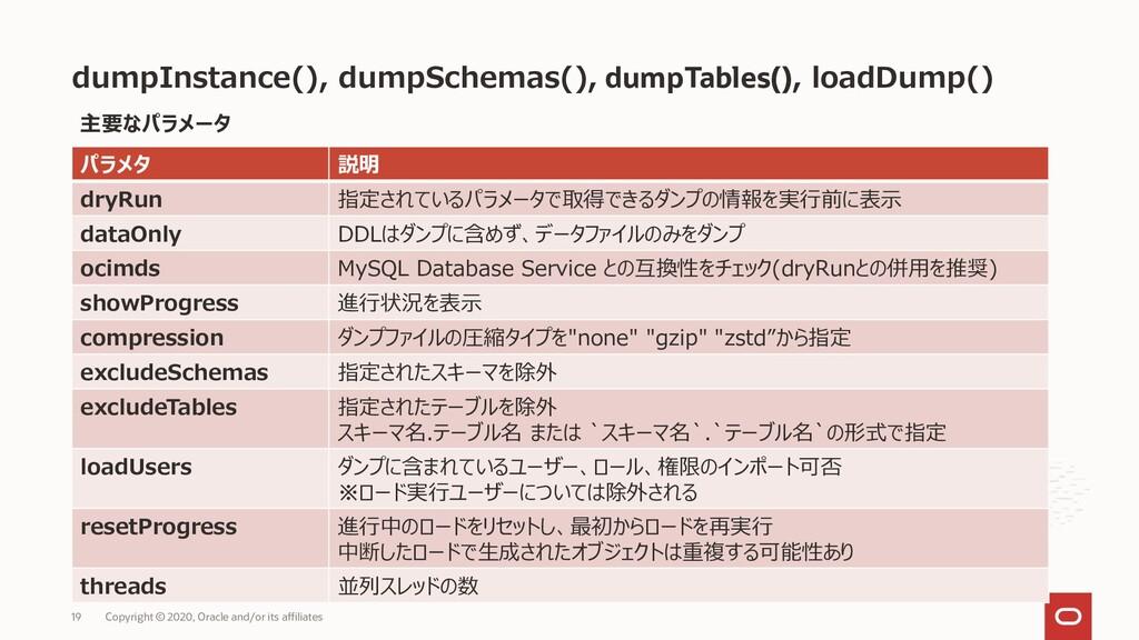 dumpInstance(), dumpSchemas(), dumpTables(), lo...