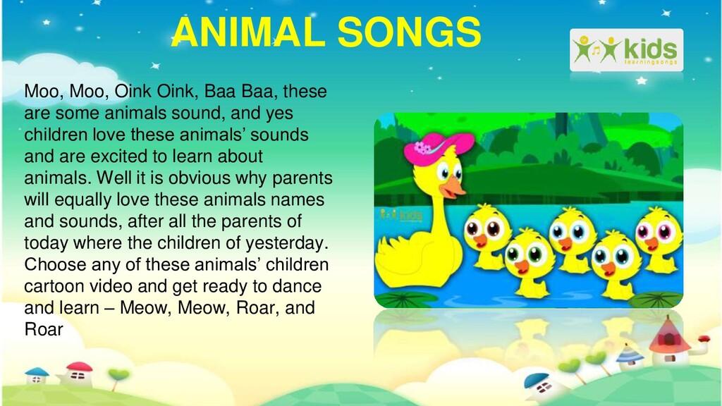 ANIMAL SONGS Moo, Moo, Oink Oink, Baa Baa, thes...