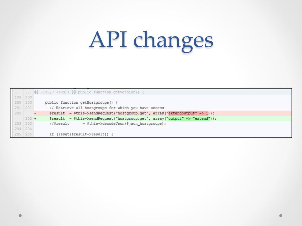 API changes