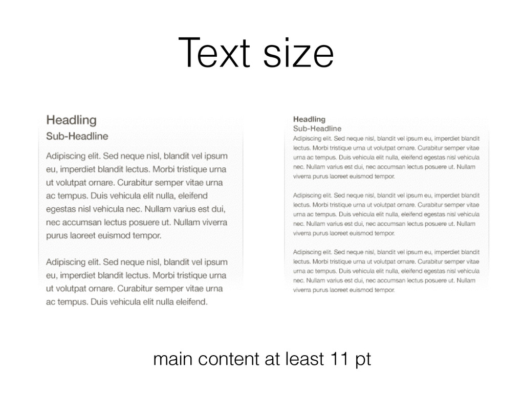 Text size main content at least 11 pt