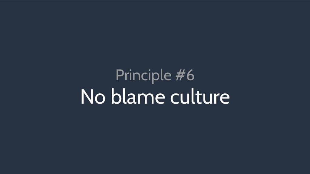 Principle #6 No blame culture