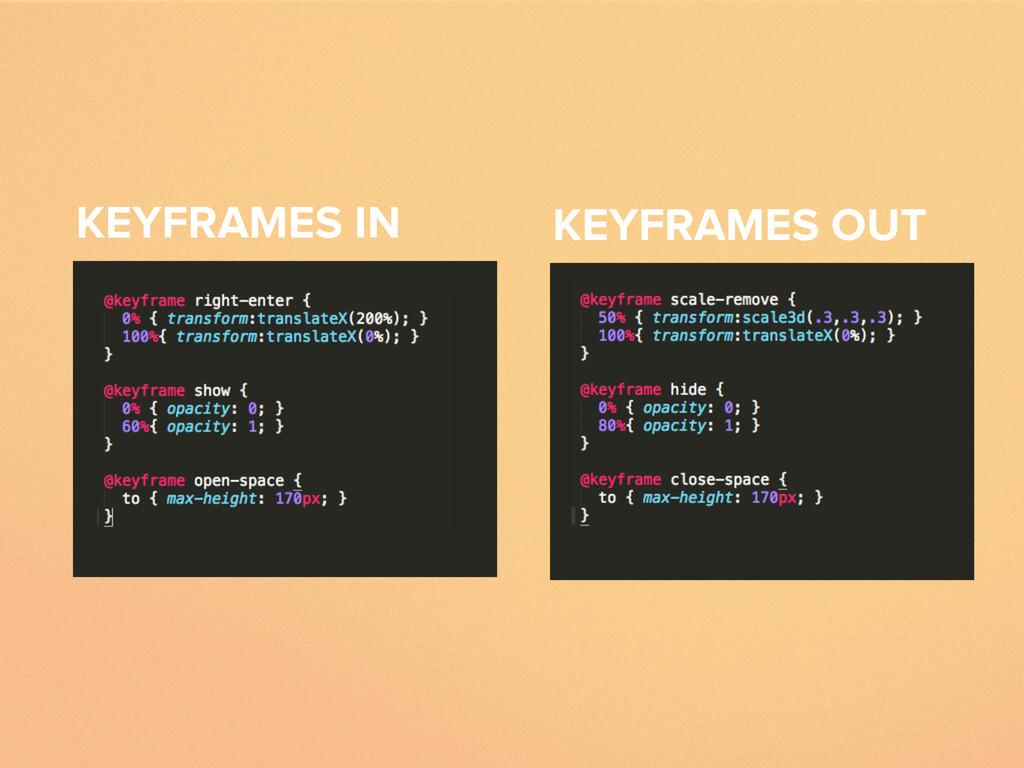 KEYFRAMES IN KEYFRAMES OUT