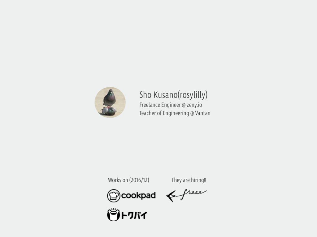 Works on (2016/12) Sho Kusano(rosylilly) Freela...