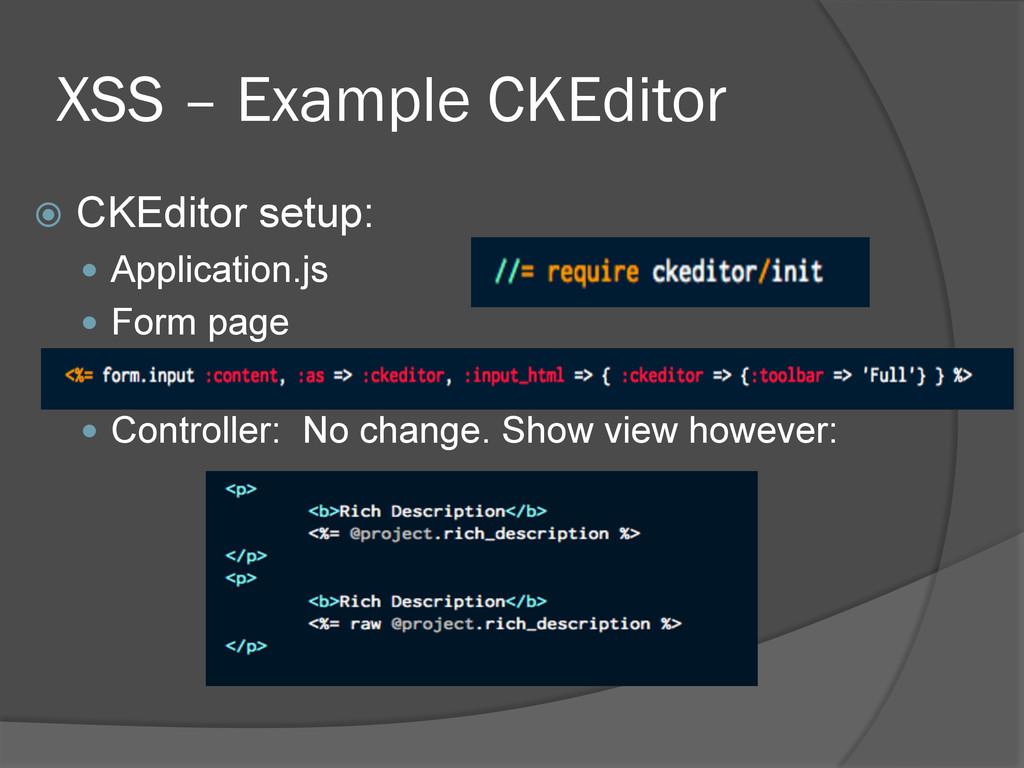 XSS – Example CKEditor ž CKEditor setup: — ...