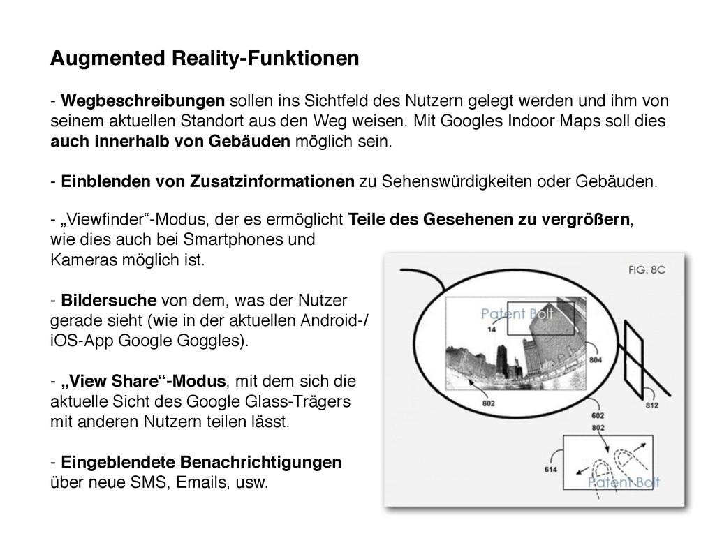 Augmented Reality-Funktionen - Wegbeschreibunge...