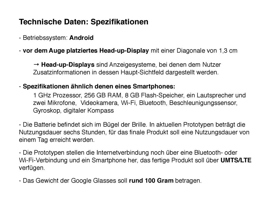 Technische Daten: Spezifikationen - Betriebssyst...