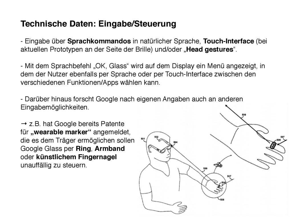 Technische Daten: Eingabe/Steuerung - Eingabe ü...
