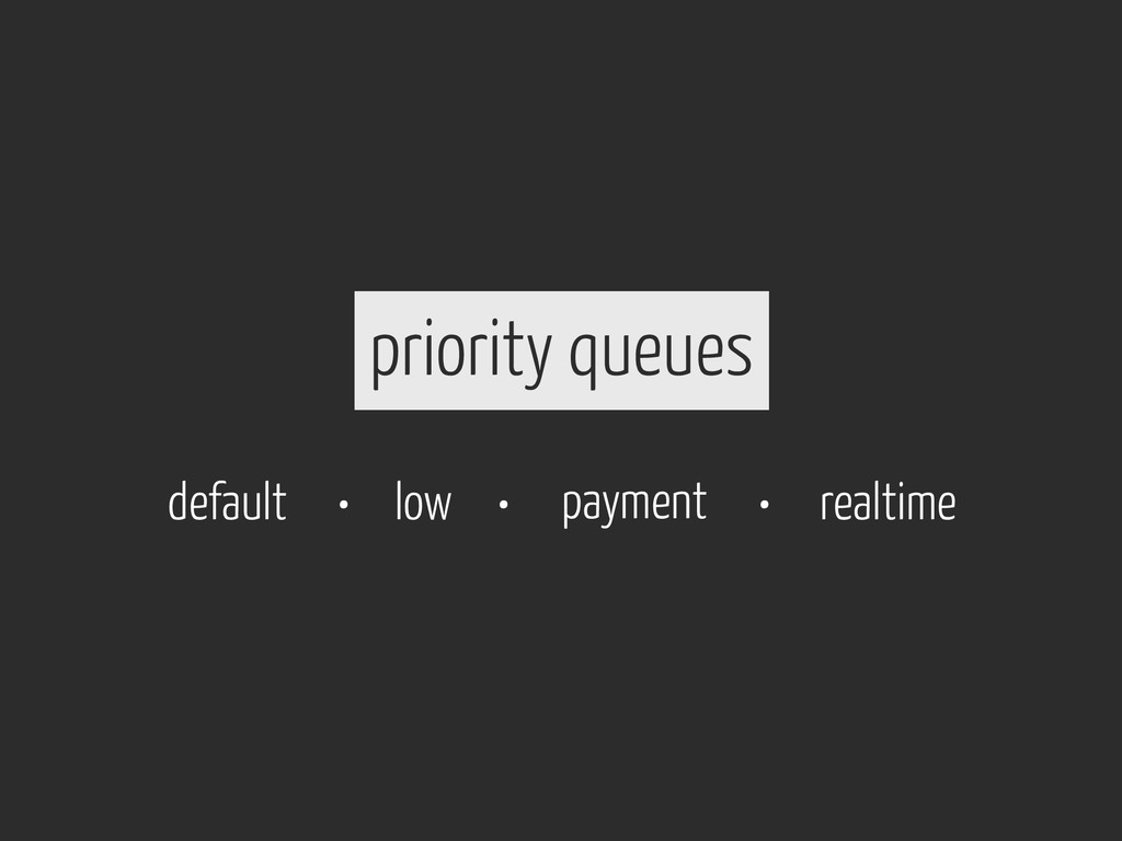 priority queues payment • default • low realtim...