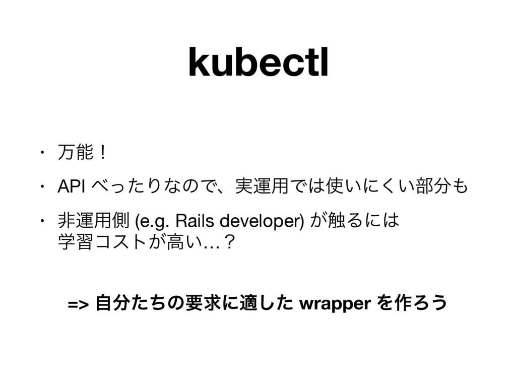 kubectl • ສʂ  • API ͬͨΓͳͷͰɺ࣮ӡ༻Ͱ͍ʹ͍͘෦  • ඇ...