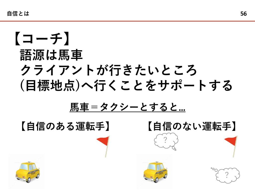 56 【コーチ】 語源は馬車 クライアントが行きたいところ (目標地点)へ行くことをサポートす...