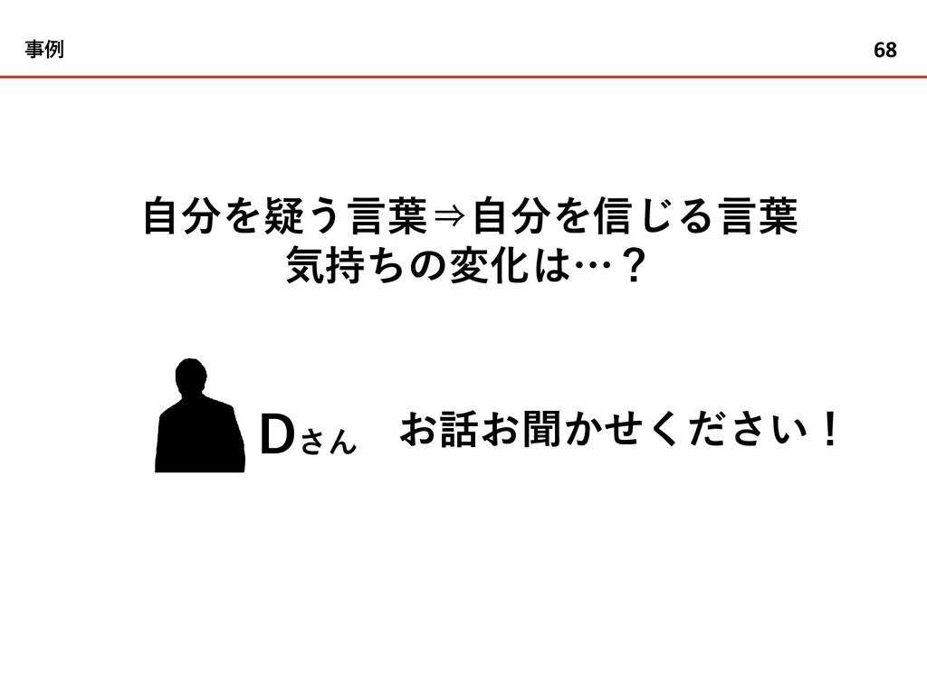 事例 68 Dさん 自分を疑う言葉⇒自分を信じる言葉 気持ちの変化は…? お話お聞かせください!