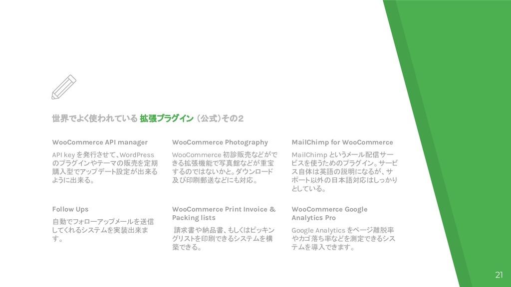 世界でよく使われている 拡張プラグイン (公式)その2 WooCommerce API man...