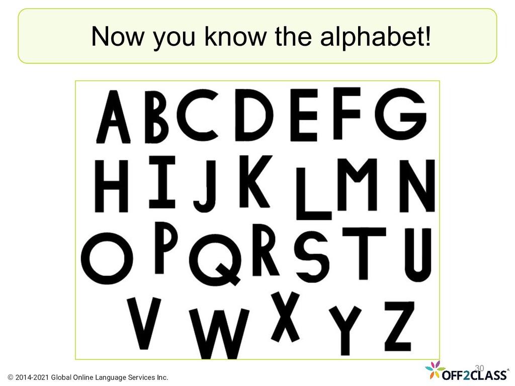 Now you know the alphabet! © 2014-2021 Global O...